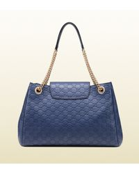 Gucci - Blue Emily Ssima Leather Shoulder Bag - Lyst