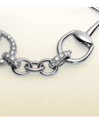 Gucci | Horsebit Diamond Bracelet in White Gold | Lyst