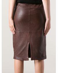 Humanoid Brown Wamp Washed Skin Skirt