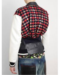 Junya Watanabe Red Junya Watanabe Tweed and Synthetic Leather Biker Jacket