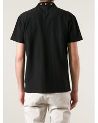 Marc Jacobs Black Studded Collar Polo Shirt for men