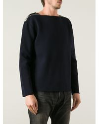 Saint Laurent Blue Shoulder Zip Sweater for men
