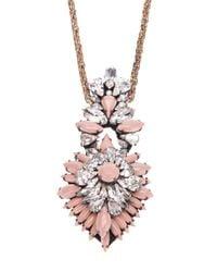 Shourouk Pink Crystal Pendant Necklace