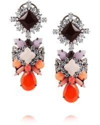 Shourouk | Orange Blondie Harlow Silverplated Swarovski Crystal Earrings | Lyst