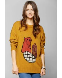 Urban Outfitters | Brown Bdg Fuzzy Friend Sweater | Lyst
