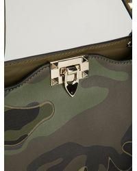 Valentino Green Printed Rockstud Trapeze Tote