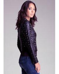 Bebe Purple Allover Studded Leather Jacket