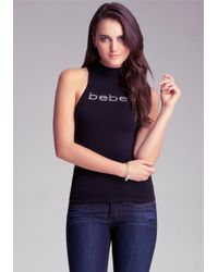 Bebe Black Open Back Logo Top
