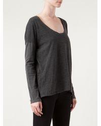 James Perse Gray Color Block Boxy T-Shirt