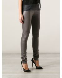 JOSEPH Gray Leather Legging