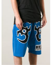 KTZ Blue Tatoo Patched Reflect Shorts for men