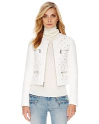 Michael Kors | White Quilted Studded Puffer Jacket | Lyst