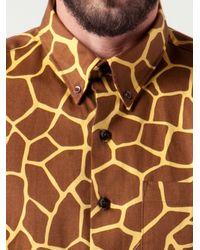 Naked & Famous Brown Giraffe Print Shirt for men