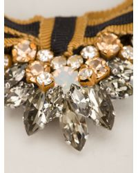 Rada' Brown Bow Crystal Chain Pearl Necklace