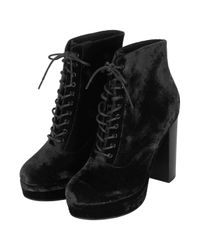 TOPSHOP Black Alpy Velvet Lace Up Boots