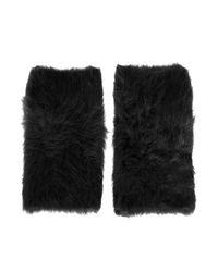 TOPSHOP Black Ultra Furry Hand Warmers