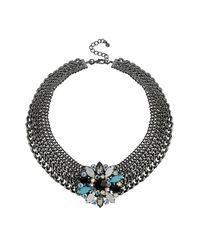 TOPSHOP | Blue Premium Rhinestone Flower Curb Collar | Lyst