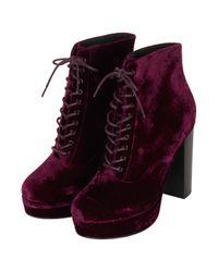 TOPSHOP Purple Alpy Velvet Lace Up Boots