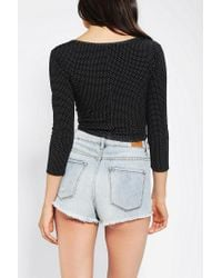 Urban Outfitters - Black Pins and Needles Printed Button down Cropped Top - Lyst
