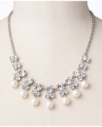 Ann Taylor - White Pearlized Sparkle Stone Necklace - Lyst