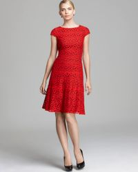 Anne Klein Red Lace Swing Dress Cap Sleeve