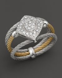 Charriol | Metallic Classique Collection 18k White Gold And Stainless Steel Nautical Cable Diamond Ring | Lyst