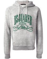 DSquared² Gray Logo Print Hoodie for men
