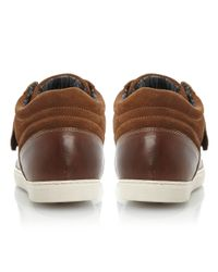 Dune Brown Skylight Velcro Hi Top Trainers for men