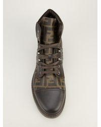 Fendi Brown Monogram Print Boot for men