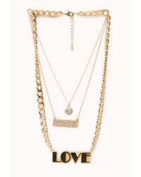 Forever 21 | Metallic Street-Chic Love Necklace | Lyst