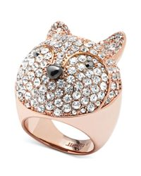 Fossil | Pink Rose Gold Tone Crystal Pave Fox Dome Ring | Lyst