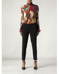 Just Cavalli Red Floral Peter Pan Blouse