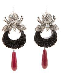 Katerina Psoma | Black Bumble Bee Diamantee Pendant Earings | Lyst