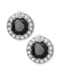 Lauren by Ralph Lauren - Metallic Silvertone Round Faceted Jet Glass Stone Stud Earrings - Lyst