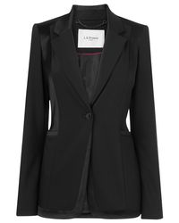 L.K.Bennett Black Melba Contrast Fabric Fitted Jacket