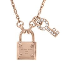 """Michael Kors - Pink Lock and Pave Key Pendant Necklace 16"""" - Lyst"""
