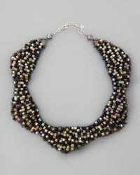 Nakamol | Black Checkered Crystal Bib Necklace Multicolor | Lyst
