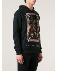 Philipp Plein Black Doberman Print Hoodie for men