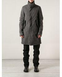 Poeme Bohemien Gray Single Breasted Coat for men