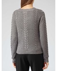 Reiss Gray Nik Sequin Knitted Jumper
