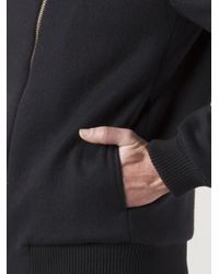 Thamanyah Black Asymmetrical Bomber Jacket for men