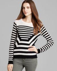 Theory White Sweater - Abner P Lofty Cashmere Optical Stripe