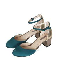 TOPSHOP Green Juniper Metallic Mid Heels