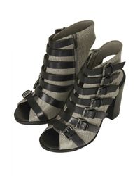 TOPSHOP Gray Ragged Multi Buckle Sandals