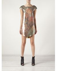 Tsumori Chisato Metallic Abstract Back Print Dress