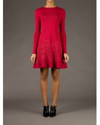 Valentino Red Lace Detail Sweater Dress