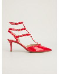 Valentino Red Rockstud Patent Sandal