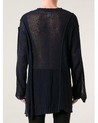 Yohji Yamamoto Blue De-constructed Loose Knit Jumper for men