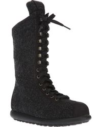 Camper Black Midcalf Laceup Trainer Boot