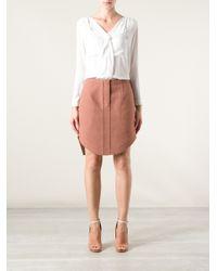 Carven Brown Curved Hem Skirt